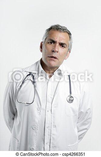 doctor senior expertise gray hair on white - csp4266351