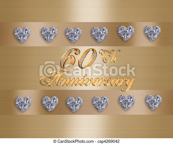 60th Wedding Anniversary card or invitation template with diamond studded