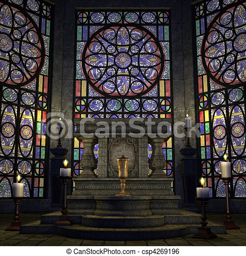 archaic altar or sanctum in a fantasy setting. 3D rendering of a fantasy theme. ideal for background usage. - csp4269196