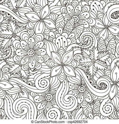 Clipart Vecteur de modèle, seamless, ondulé, noir, floral, blanc ...
