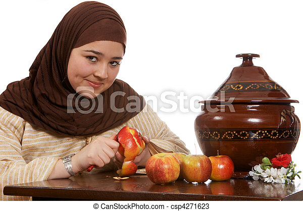 Peeling an apple - csp4271623