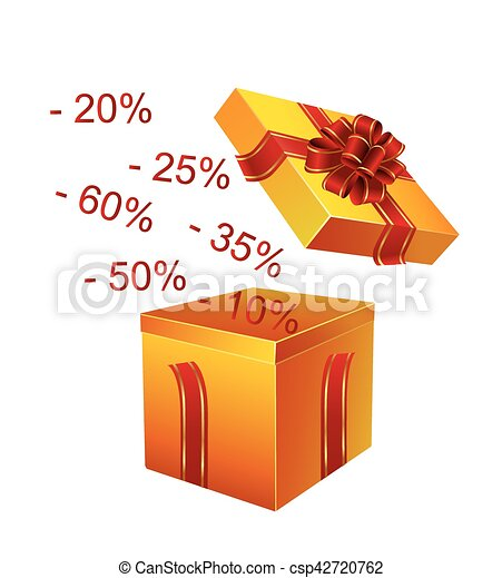 Gift box with red ribbon - csp42720762