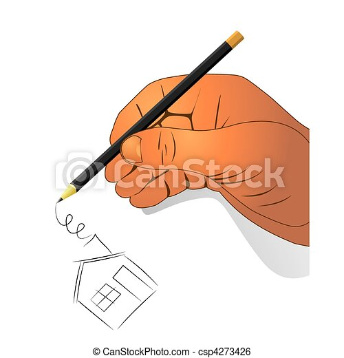 Clip Art Vector of Hand with a pencil drawing house - illustration ...