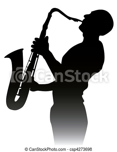 black silhouette of a saxophone pla - csp4273698