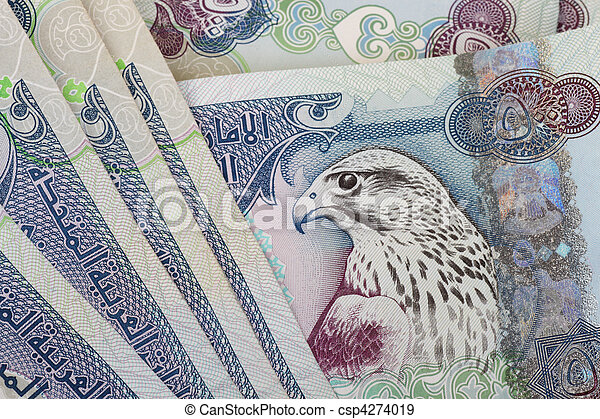 UAE currency - 500 dirhams closeup note - csp4274019