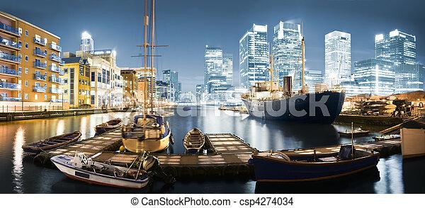 Canary Wharf Skyline at Twilight - csp4274034