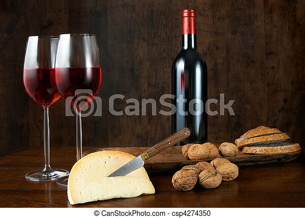 Wine cheese and nuts - csp4274350