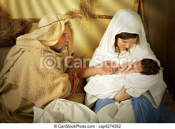 Christmas nativity in a manger - csp4274352