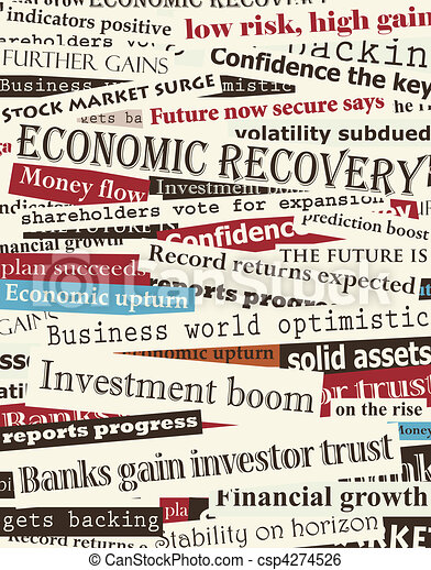 Financial recovery headlines - csp4274526
