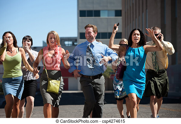 Young business workers run down steet. - csp4274615