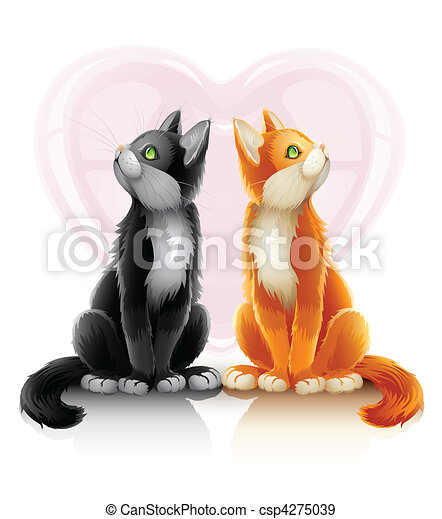 romantic couple of two loving cats - csp4275039