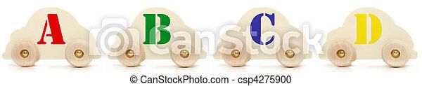 Wooden Car Alphabet Toys A B C D - csp4275900