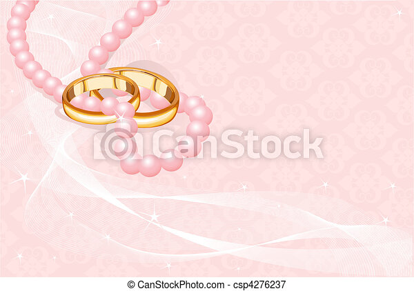 Wedding rings on pink    - csp4276237