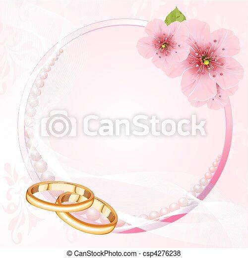Vecteur de fleur, cerise, de, Anneaux, mariage - mariage, Anneaux, et ...