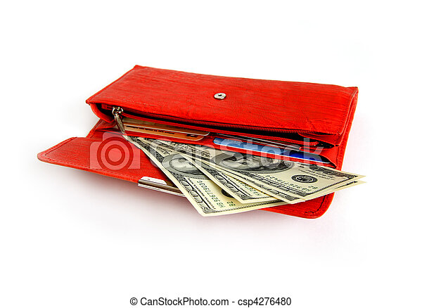 Money wallet red, happy shopping - csp4276480