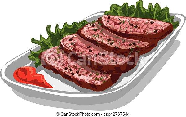 roast beef with sauce - csp42767544