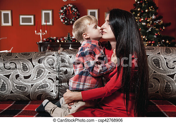 Christmas Family Portrait In Home Holiday Living Room The Little Boy Arms Of
