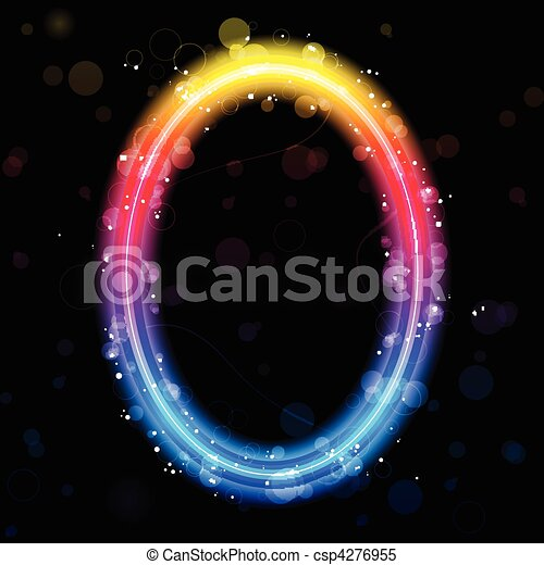 Number Rainbow Lights  Glitter with Sparkles - csp4276955