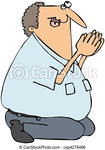 modlący się, Człowiek - csp4278486