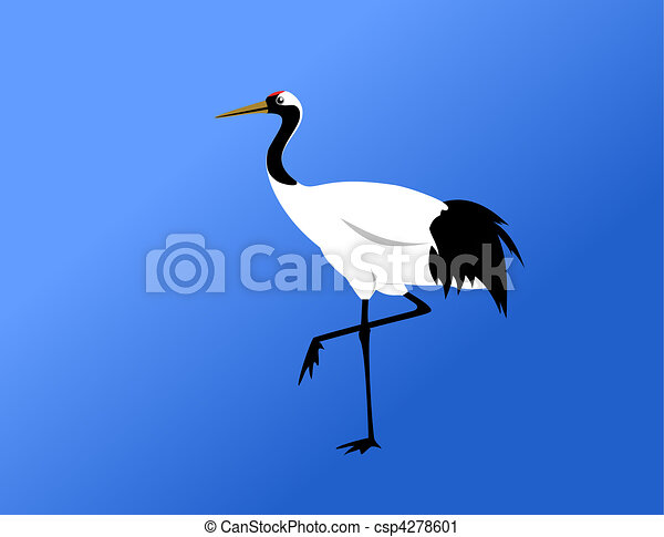 chinese red-crowned crane standing - csp4278601