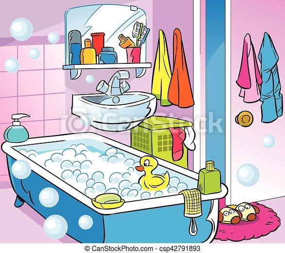 Eps vektoren von inneneinrichtung badezimmer karikatur for Badezimmer clipart