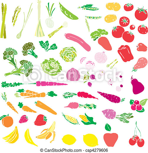 Clipart vettoriali di verdura frutta vettore for Clipart frutta