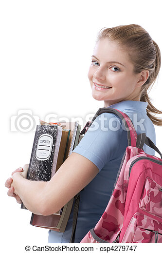 Caucasian college student with backpack copybooks - csp4279747