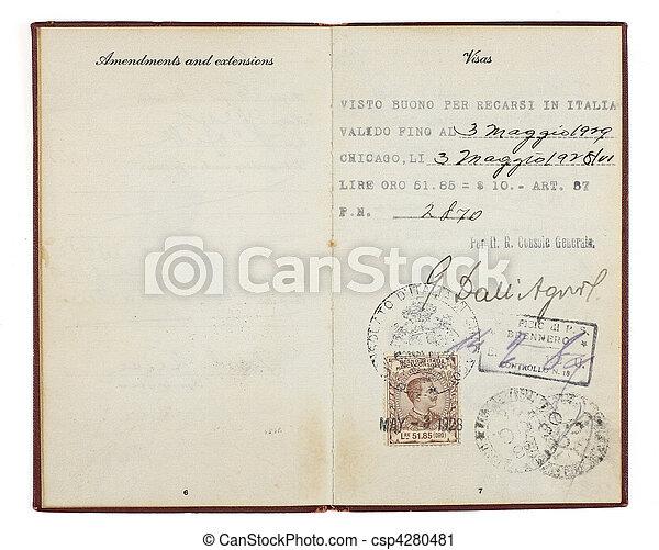 Old Visa with Italian Visa Stamp - csp4280481