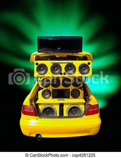 Stock Images of extrem bass speakers in a tuned car ...