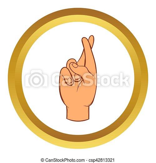 Fingers crossed  icon, cartoon style - csp42813321