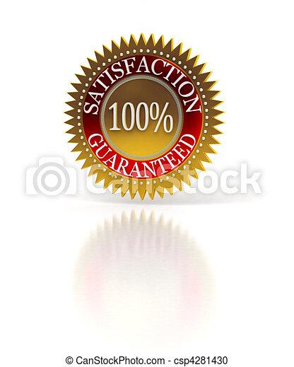 Satisfaction Guaranteed seal over white - csp4281430