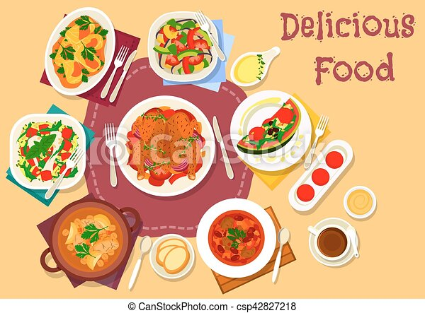 Vector Clip Art of Dinner meal top view icon for food theme design ...