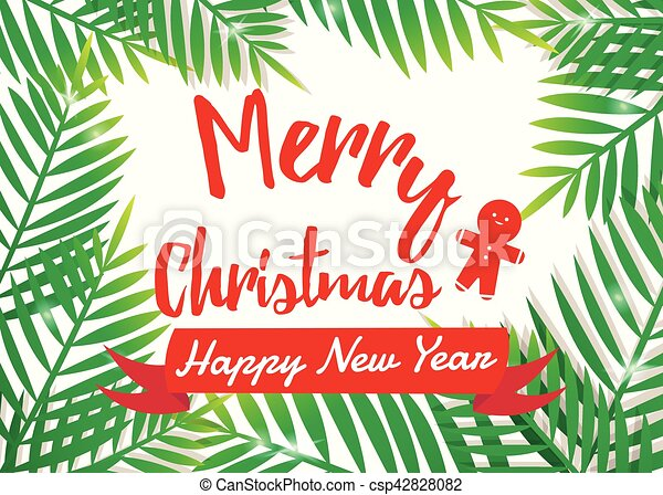 Merry Christmas with Palm frame. - csp42828082