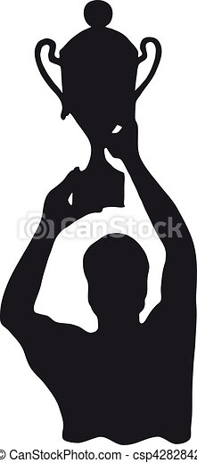 Vector Illustration of Silhouette of winner with cup ...