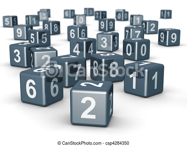 Number cube dice placing randomly - csp4284350