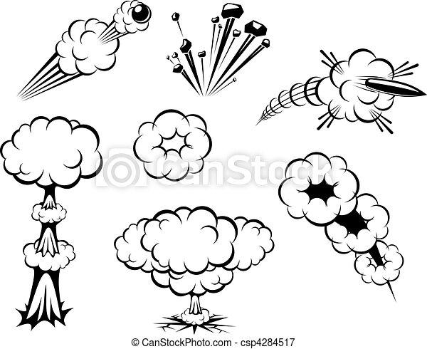 Ilustraciones vectoriales de Conjunto, explosiones - Conjunto, de ...
