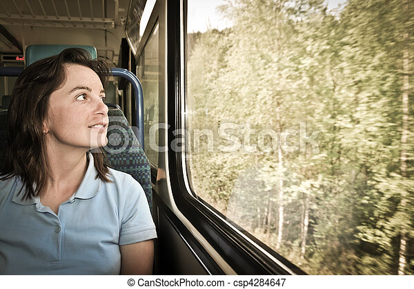 Young woman travelling by train - csp4284647
