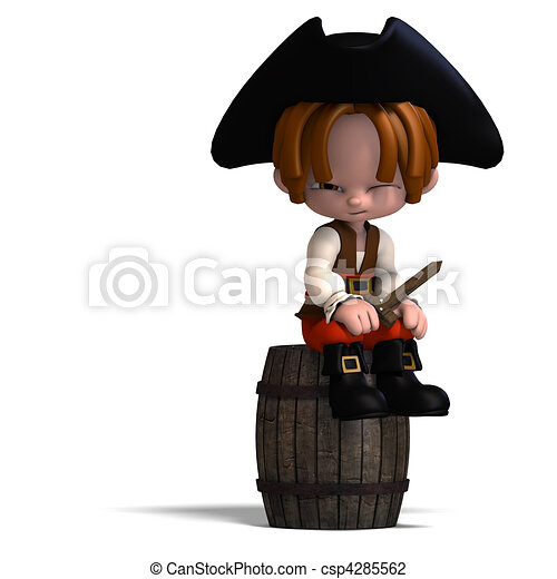 sweet and funny cartoon pirate with hat. 3D rendering with  and shadow over white - csp4285562