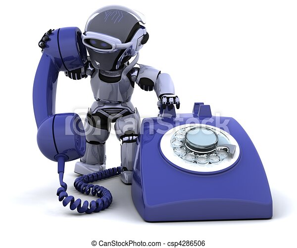 robot with a traditional telephone - csp4286506