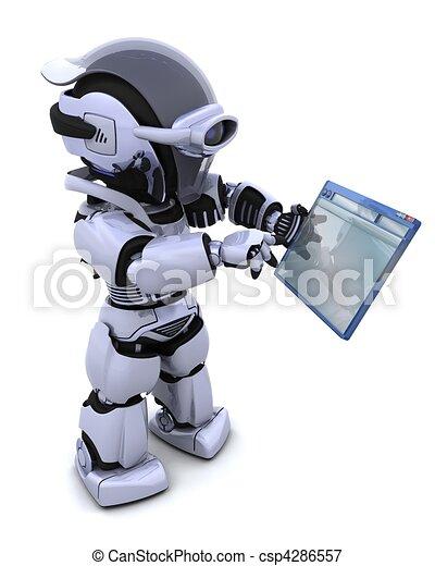 robot navigating through computer window  - csp4286557