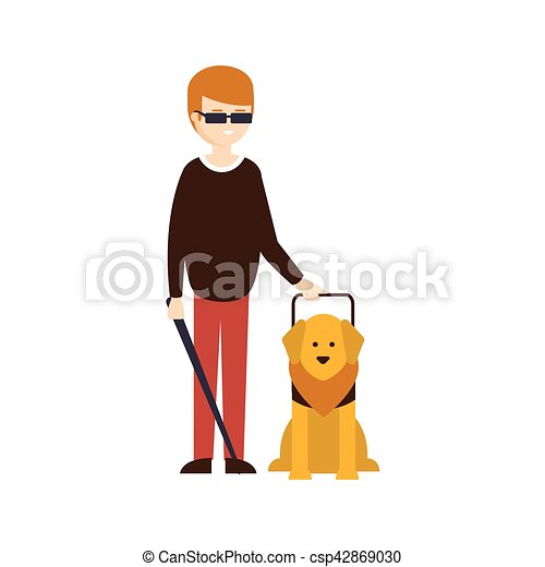 Vector Clip Art of Happy blind child with his guide dog - Happy ...