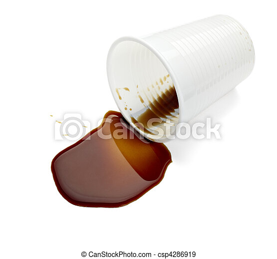 plastic cup of coffee drink beverage food office spilled messy - csp4286919