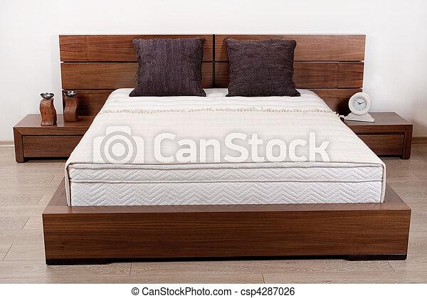 Image de double moderne chambre coucher moderne bois fini csp4287026 recherchez - Chambre a coucher en bois hetre moderne ...