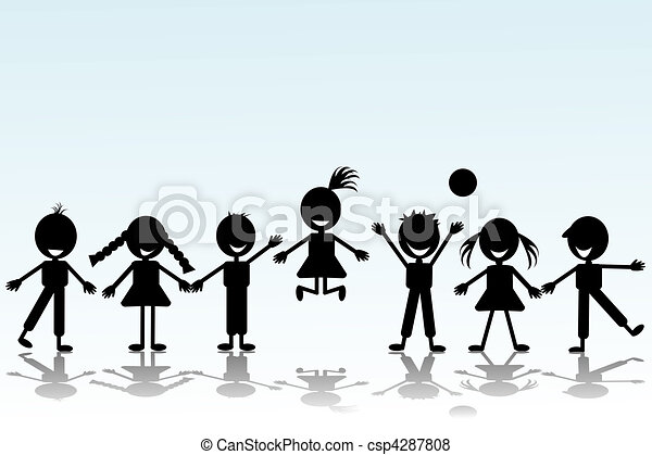 Black smiling children silhouettes - csp4287808