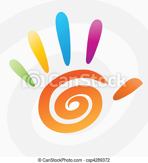 Abstract vector colored spiral hand - csp4289372