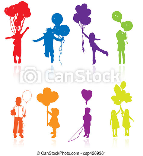 Colored reflecting silhouettes - csp4289381