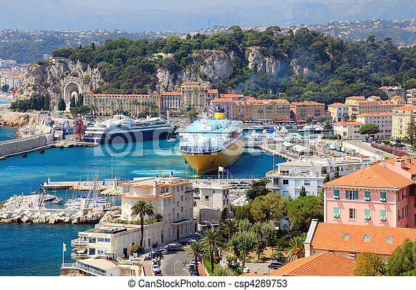 Beautiful harbor od Nice with big cruise ships, France, Europe. Cote D'Azur. - csp4289753