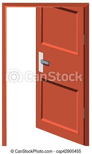 Clipart Vector of Wooden door left open illustration csp42900455 ...