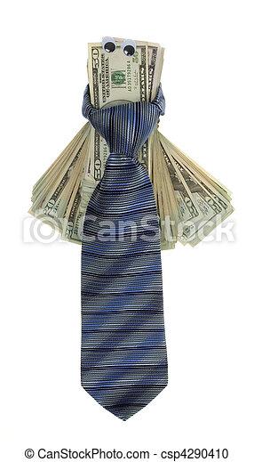 Twenty Dollar Bills with Google Eyes Tied up with a Neck tie - csp4290410