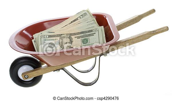 Twenty Dollar Bills in Red Wheelbarrow - csp4290476